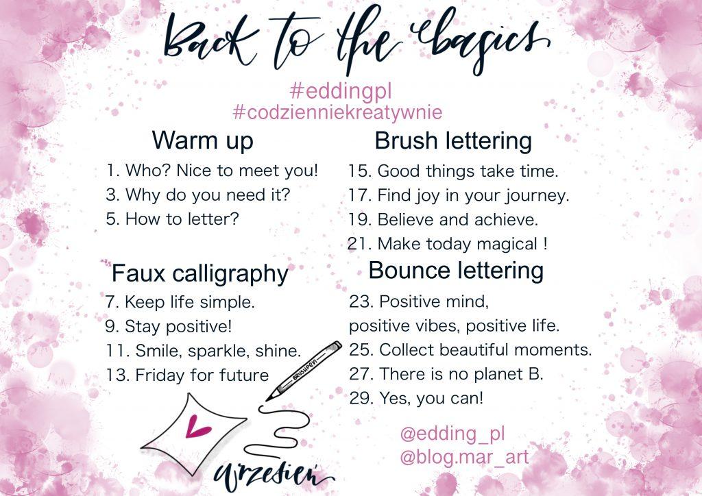back to the basics 1024x724 - Wyzwanie letteringowe #codzienniekreatywnie i nauka letteringu