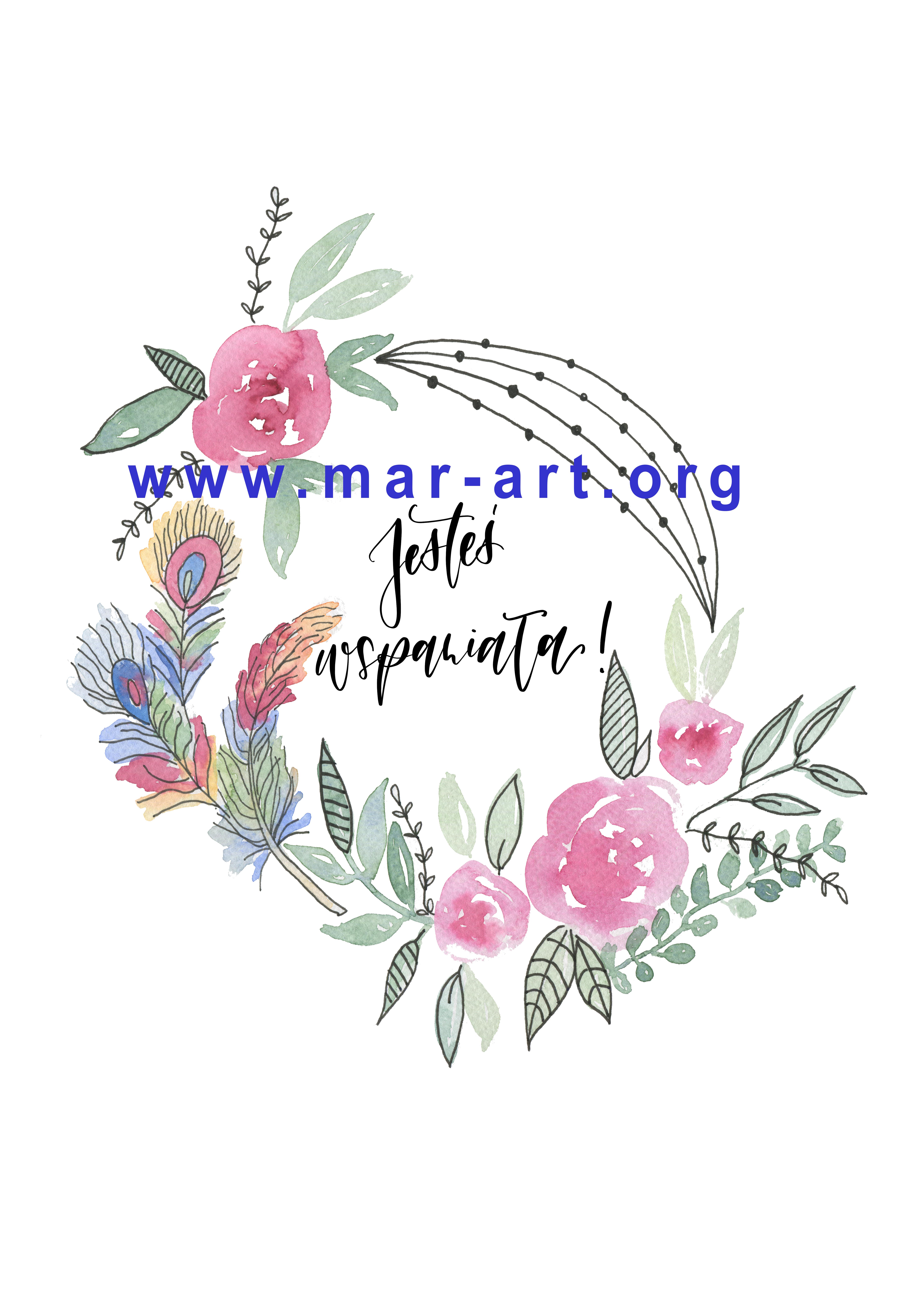 watermark jestes wspaniala wianek mar art lettering - Jesteś wspaniała - grafika w formacie A4 do druku