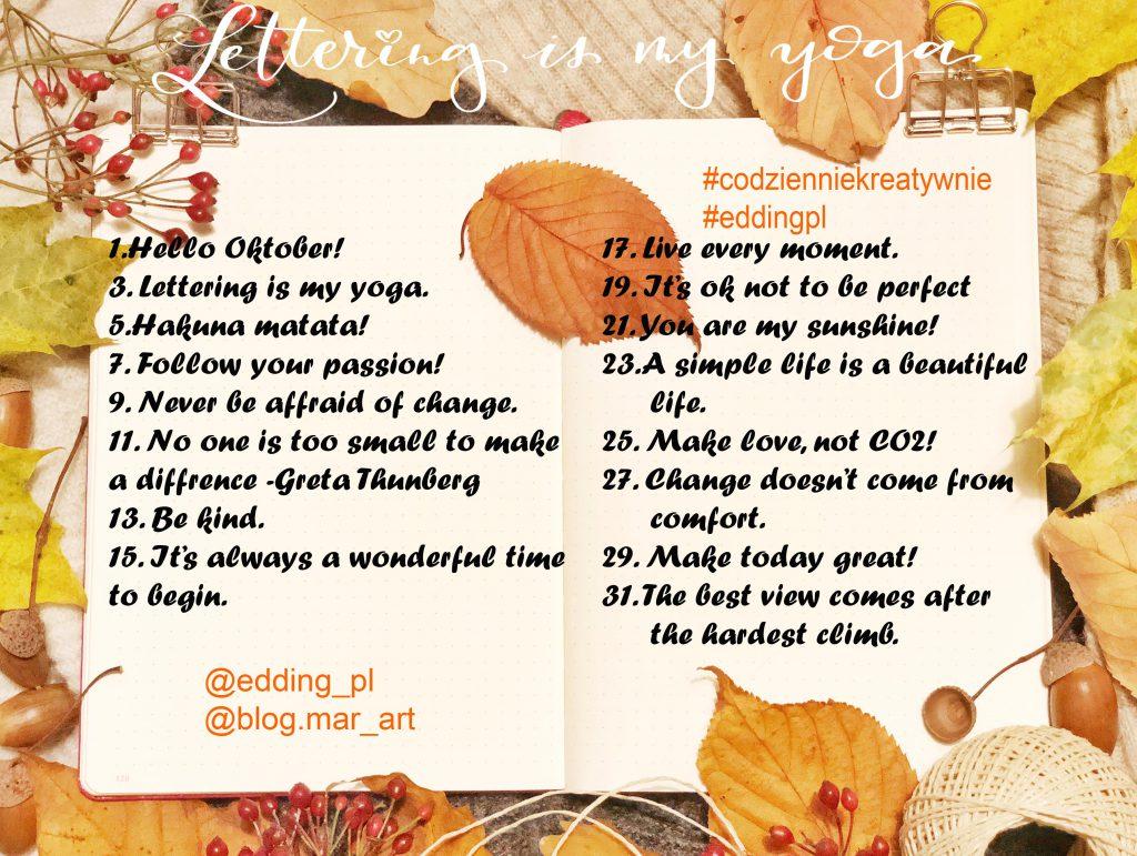 pazdiernik 2019 1024x771 - Wyzwanie letteringowe na instagramie #codzienniekreatywanie -edycja październikowa