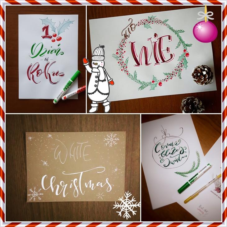 brush lettering wyzwanie Emilia - Wyzwanie letteringowe-podsumowanie grudnia