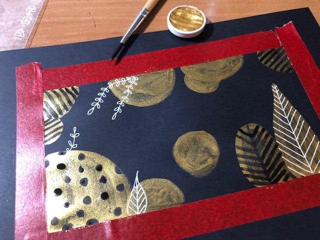 lettering akwarela - Lettering na złotym akwarelowym tle