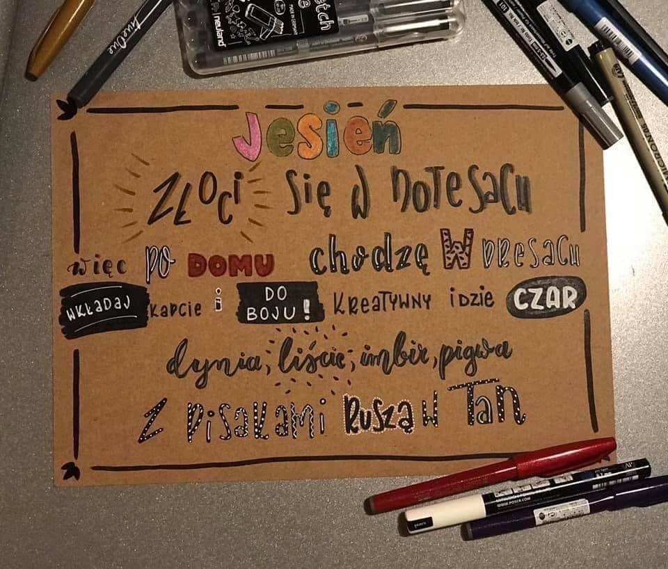 jesienny lettering - Wyniki konkursu jesiennego oraz nowe wyzwanie letteringowe na październik