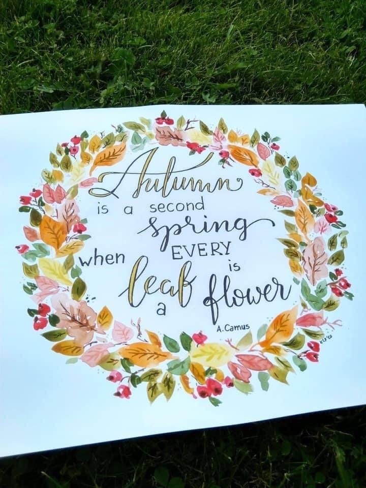 lettering na jesień - Wyniki konkursu jesiennego oraz nowe wyzwanie letteringowe na październik
