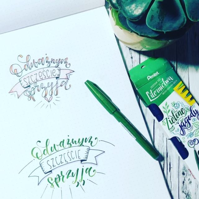 wyzwanie letteringowe brush lettering - Szablony do bounce lettering i konkurs
