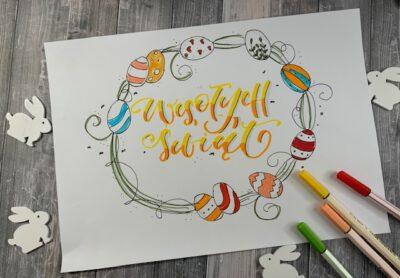 wyzwanie wielkanocne brush lettering 400x278 - Blog