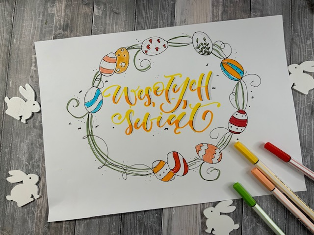 wyzwanie wielkanocne brush lettering